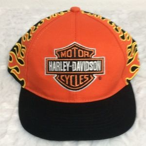 Harley Davidson Boys Snap Back Cap with Flames Hat
